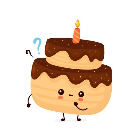 Cute happy layered birthday party cake with one candle and question mark. Vector flat cartoon character illustration icon design.Isolated on white background.  Birthday cake concept