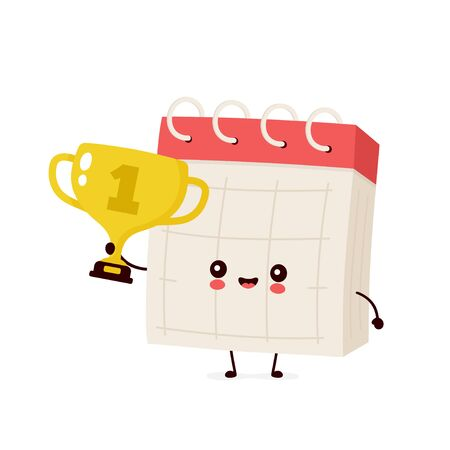 Cute smiling happy desk calendar hold gold trophy cup. Vector flat cartoon character illustration icon design.Isolated on white background. Desk calendar with winner trophy cup character concept Ilustração