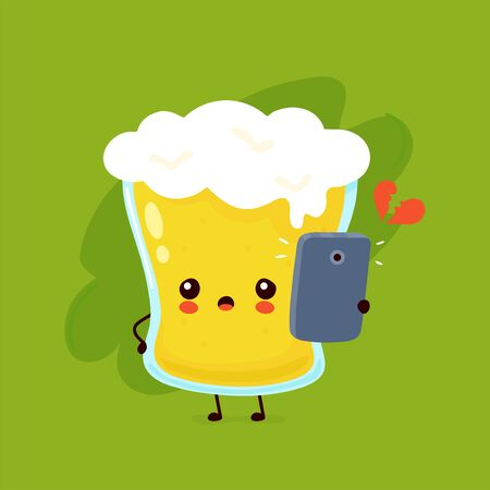 Cute glass of beer talking on the phone. Vector flat cartoon character illustration icon design. Beer glass,bar alcohol menu concept