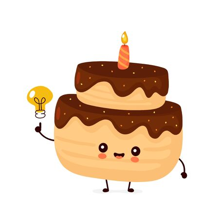 Cute happy layered birthday party cake with one candle and light bulb. Vector flat cartoon character illustration icon design.Isolated on white background.  Birthday cake concept