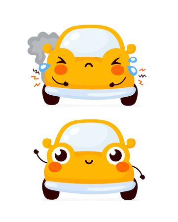 Cute happy and sad broken yellow automobile car. Vector flat cartoon character illustration icon design.Isolated on white background. Automobile car repair after crash concept