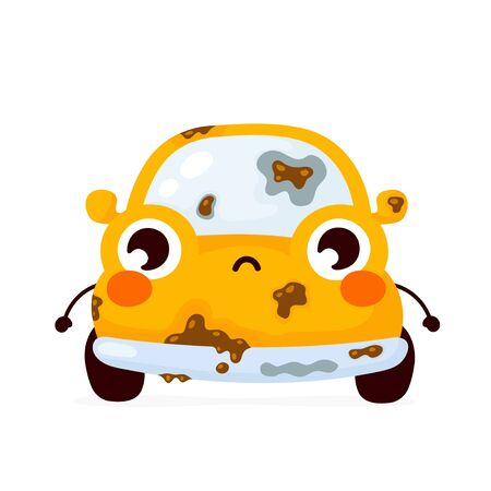 Cute sad dirty yellow automobile car. Vector flat cartoon character illustration icon design.Isolated on white background. Automobile car character concept