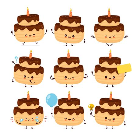 Cute happy layered birthday party cake with one candle set collection. Vector flat cartoon character illustration icon design.Isolated on white background.  Birthday cake bundle concept Ilustração
