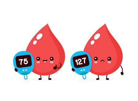 Linda gota de sangre feliz y triste con carácter de dispositivo de medición de glucosa. Diseño plano del icono del ejemplo de la historieta del estilo del vector. Aislado en el fondo blanco. Nivel de glucómetro de azúcar en sangre normal y diabético