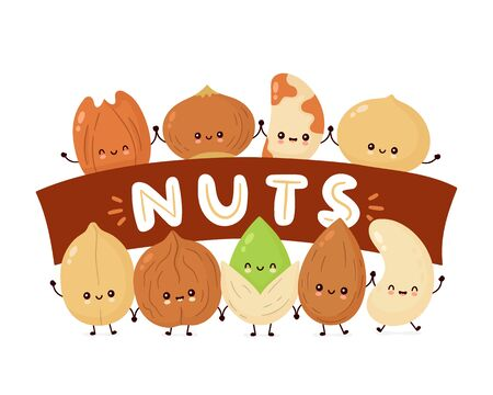 Cute happy nuts banner. Vector flat cartoon character illustration icon design. Isolated on white background. Peanut, hazelnut, walnut, Brazil nut, pistachio, cashew, pecan, almond characters