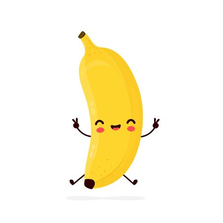 Cute happy smiling banana fruit. Vector flat cartoon character illustration icon design.Isolated on white background. Banana fruit concept