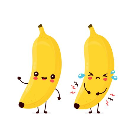 Cute happy smiling and sad cry banana fruit. Vector flat cartoon character illustration icon design.Isolated on white background. Banana fruit concept