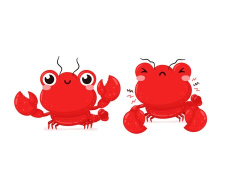 Cute happy smiling and sad lobster. Vector flat cartoon character illustration icon design.Isolated on white background. Lobster,sea food menu concept