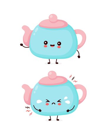 Cute happy smiling and sad cry teapot. Vector flat cartoon character illustration icon design.Isolated on white background. Teapot,tea menu concept Ilustração