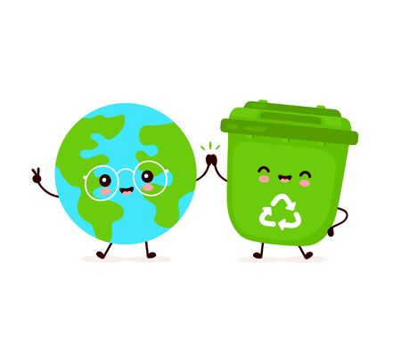 Cute happy smiling trash bin and Earth planet. Vector flat cartoon character illustration icon design.Isolated on white background. Recycling trash, sorted garbage,save Earth concept Illustration