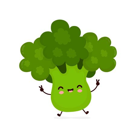 Cute happy smiling broccoli vegetable. Vector flat cartoon character illustration icon design.Isolated on white background. Green broccoli vegetable concept