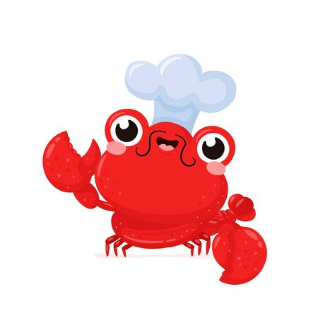 Cute happy smiling lobster in chef hat. Vector flat cartoon character illustration icon design.Isolated on white background. Lobster,sea food menu concept