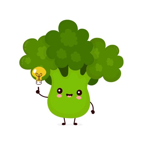 Cute happy smiling broccoli vegetable with light bulb. Vector flat cartoon character illustration icon design.Isolated on white background. Green broccoli vegetable concept