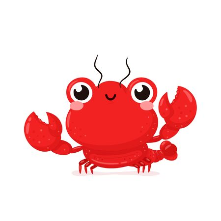 Cute happy smiling lobster. Vector flat cartoon character illustration icon design.Isolated on white background. Lobster,sea food menu concept Ilustração Vetorial