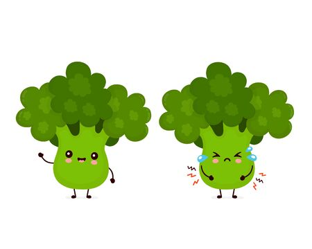 Cute happy smiling and sad cry broccoli vegetable. Vector flat cartoon character illustration icon design.Isolated on white background. Green broccoli vegetable concept
