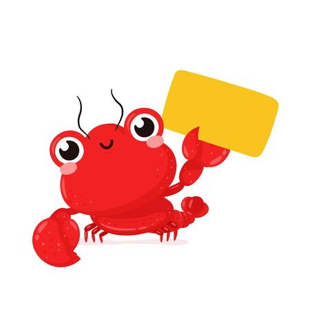 Cute happy smiling lobster with empty sign. Vector flat cartoon character illustration icon design.Isolated on white background. Lobster,sea food menu concept