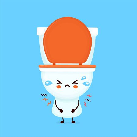 Cute sad cry toilet bowl. Vector flat cartoon character illustration icon design. WC, toilet bowl concept