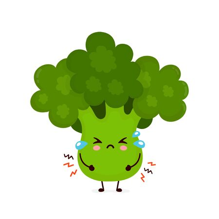 Cute sad cry broccoli vegetable. Vector flat cartoon character illustration icon design.Isolated on white background. Green broccoli vegetable concept