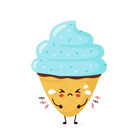Cute sad cry ice cream cone. Vector flat cartoon character illustration icon design.Isolated on white background. Ice cream cone, dessert menu concept Ilustração
