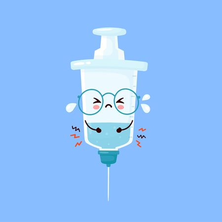 Cute sad cry syringe. Vector flat cartoon character illustration icon design. Syringe,medical vaccine concept