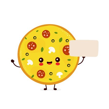 Cute happy smiling pizza with empty sign. Vector flat cartoon character illustration icon design.Isolated on white background. Pizza menu concept Ilustração