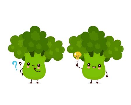 Cute happy smiling broccoli vegetable with question mark and idea lightbulb. Vector flat cartoon character illustration icon design.Isolated on white background. Green broccoli vegetable concept