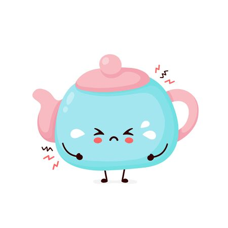 Cute sad cry teapot. Vector flat cartoon character illustration icon design.Isolated on white background. Teapot,tea menu concept Ilustração