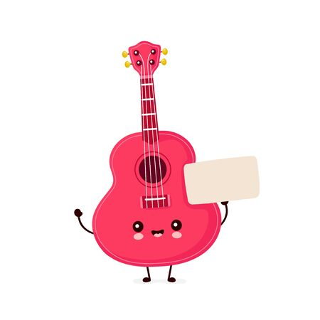 Cute happy smiling ukulele guitar with empty sign. Vector flat cartoon character illustration icon design.Isolated on white background. Ukulele guitar,music mascot concept Ilustração