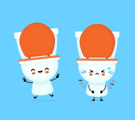 Cute happy smiling and sad toilet bowl. Vector flat cartoon character illustration icon design. WC, toilet bowl concept