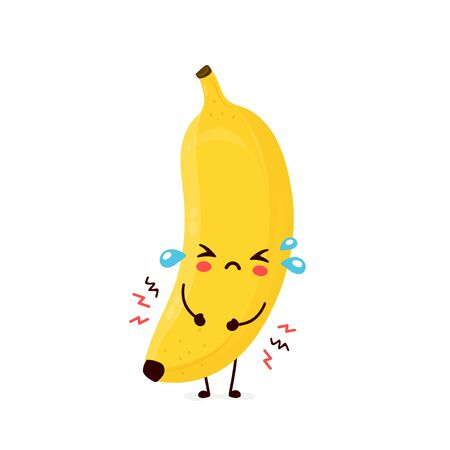 Cute sad cry banana fruit. Vector flat cartoon character illustration icon design.Isolated on white background. Banana fruit concept