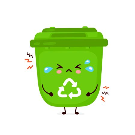 Cute sad cry trash bin. Vector flat cartoon character illustration icon design.Isolated on white background. Recycling trash, sorted garbage concept