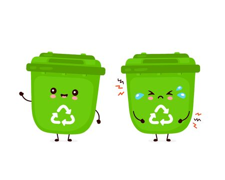 Cute happy smiling  and sad cry trash bin. Vector flat cartoon character illustration icon design.Isolated on white background. Recycling trash, sorted garbage concept