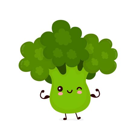 Cute happy smiling broccoli vegetable show muscle. Vector flat cartoon character illustration icon design.Isolated on white background. Green broccoli vegetable concept