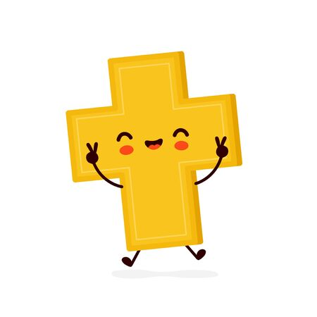 Cute happy smiling christian cross. Vector flat cartoon character illustration icon design.Isolated on white background. Christian cross concept  イラスト・ベクター素材