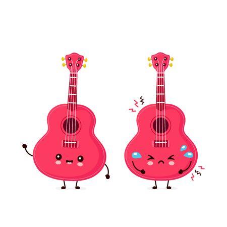 Cute happy smiling and sad ukulele guitar. Vector flat cartoon character illustration icon design.Isolated on white background. Ukulele guitar,music mascot concept