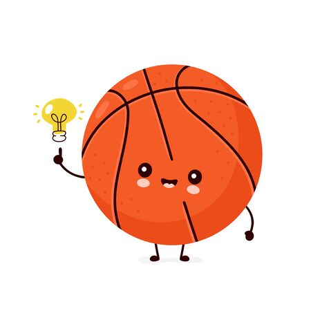 Cute happy smiling basketball ball with light bulb. Vector flat cartoon character illustration icon design.Isolated on white background. Sport,basketball ball concept