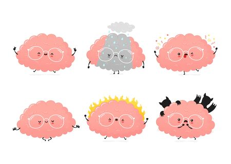 Cute human brain emotions set. Vector cartoon character illustration icon design.Isolated on white background Иллюстрация