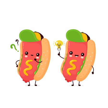 Cute happy smiling hot dog with question mark and idea lightbulb. Vector flat cartoon character illustration icon design.Isolated on white background. Hotdog,fast food concept