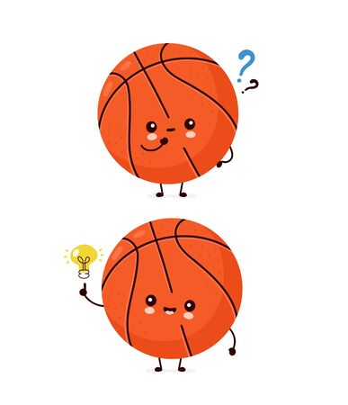 Cute happy smiling basketball ball with question mark and idea lightbulb. Vector flat cartoon character illustration icon design.Isolated on white background. Sport,basketball ball concept