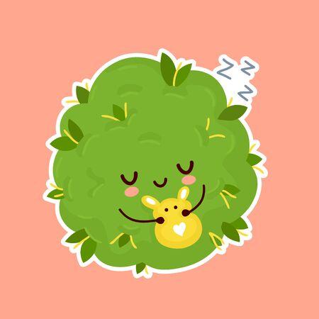 Cute weed marijuana bud sleep. Vector cartoon character illustration sticker design