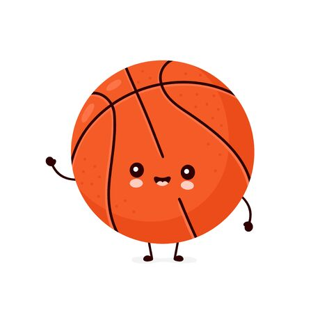 Cute happy smiling basketball ball. Vector flat cartoon character illustration icon design.Isolated on white background. Sport,basketball ball concept