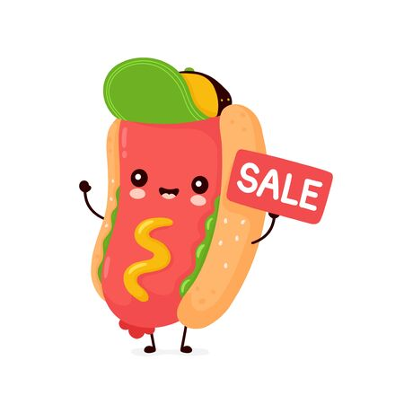 Cute happy smiling hot dog with sale sign. Vector flat cartoon character illustration icon design.Isolated on white background. Hotdog,fast food concept