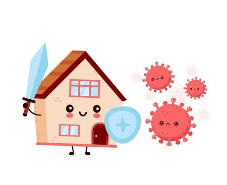 Cute house fight with coronavirus infection.Vector flat style cartoon character illustration