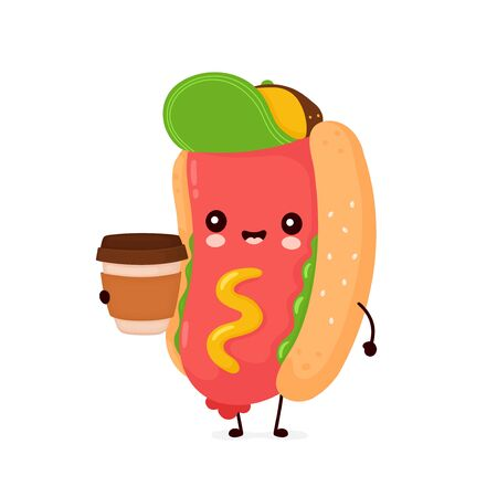 Cute happy smiling hot dog with coffee cup. Vector flat cartoon character illustration icon design.Isolated on white background. Hotdog,fast food concept