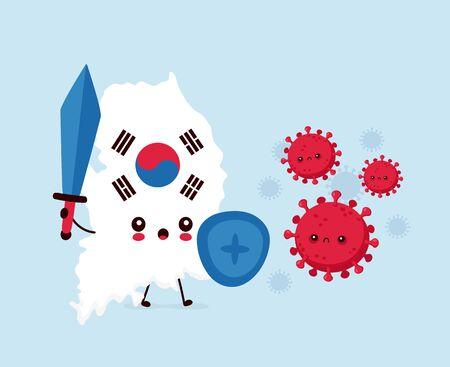 Cute sad South Korea  fight with coronavirus infection.Vector flat style cartoon character illustration Ilustracja