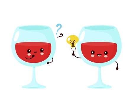 Cute happy smiling wine glass with question mark and idea lightbulb. Vector cartoon character illustration icon design.Isolated on white background