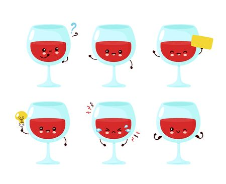 Cute happy smiling wine glass set collection. Vector cartoon character illustration icon design.Isolated on white background