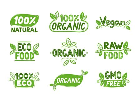 Eco, organic food signs. Vector cartoon character illustration icon design. Isolated on white background Ilustrace