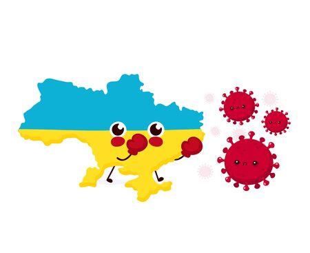 Cute Ukraine fight with coronavirus infection.Vector flat style cartoon character illustration