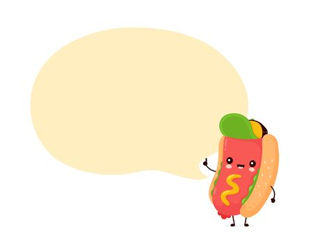 Cute happy smiling hot dog with speech bubble. Vector flat cartoon character illustration icon design.Isolated on white background. Hotdog,fast food concept